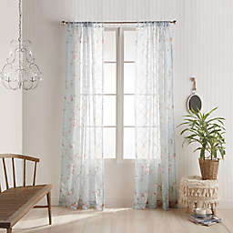 Kara Sheer Floral Rod Pocket Window Curtain Panel in Blush