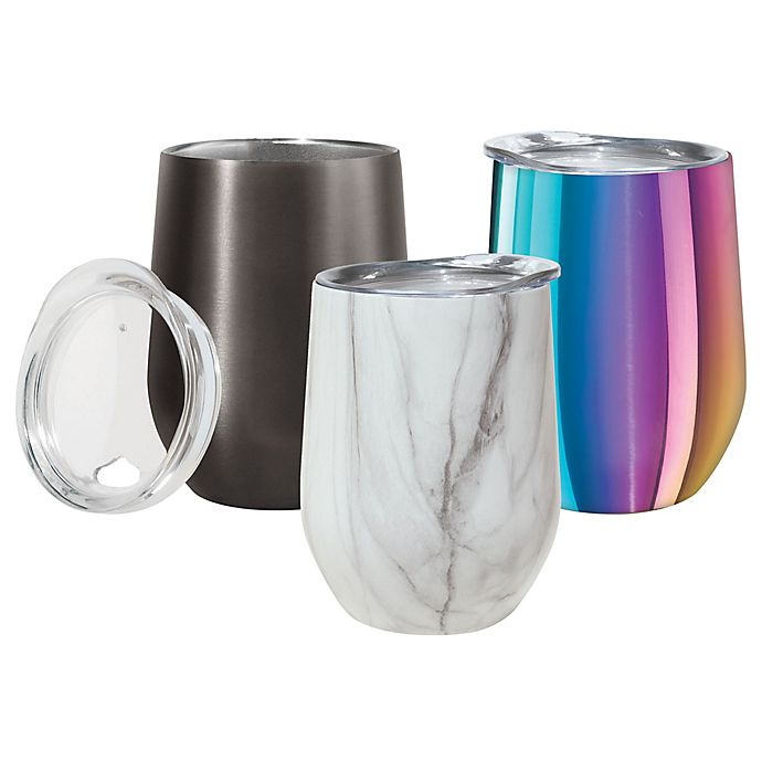 Alternate image 1 for Oggi™ Cheers™ Stainless Steel Wine Tumbler with Clear Lid Collection