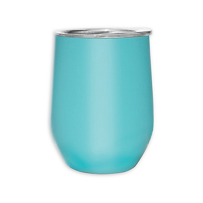 Alternate image 1 for Oggi™ Cheers™ Stainless Steel Wine Tumbler with Clear Lid in Turquoise