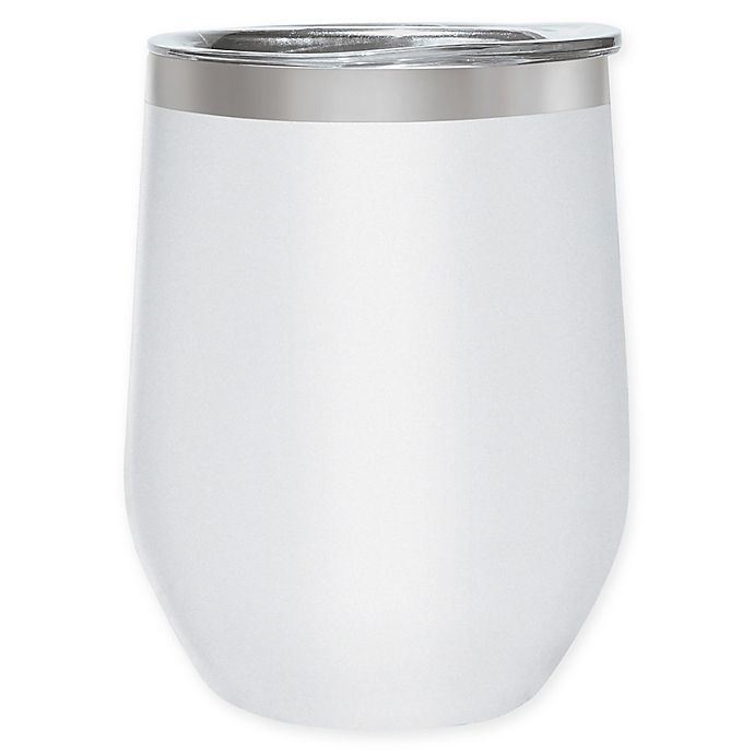 Alternate image 1 for Oggi™ Cheers™ Stainless Steel Wine Tumbler in White
