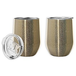 Oggi™ Cheers™ Stainless Steel Wine Tumblers in Gold Sparkle (Set of 2)