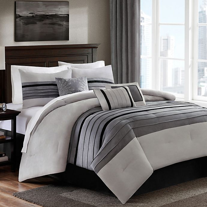 Dylan 6 7 Piece Suede Comforter Set In Grey Bed Bath And