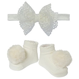 So 'dorable 2-Piece Bow & Booties Set in Ivory