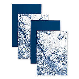 Caskata Map Kitchen Towels in Blue/White (Set of 4)