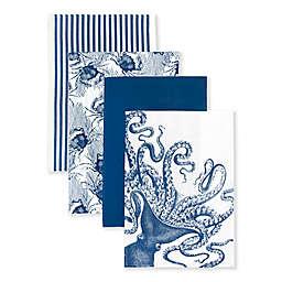 Caskata Crab & Octopus Kitchen Towels in Blue/White (Set of 4)