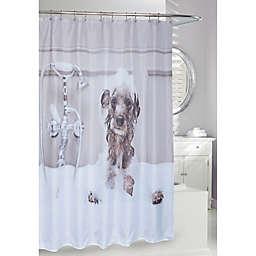 Dog Bath Shower Curtain in Brown/Black