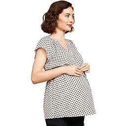 Motherhood Maternity® Flutter Sleeve Pleated Neck Maternity Top