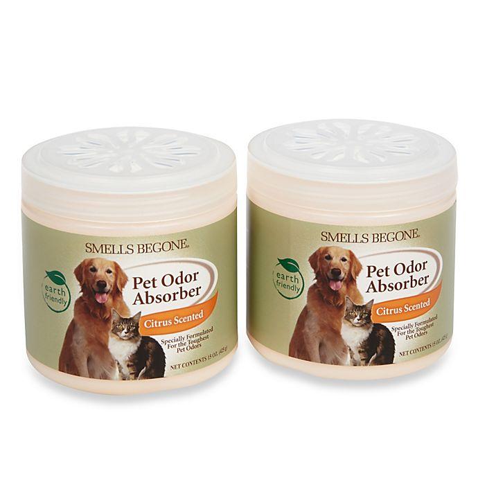 Alternate image 1 for Smells BeGone® Pet Odor Absorber Citrus Solid Air Freshener 15 oz. Jars (2-Pack)