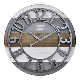 FirsTime® Shabby Planks Wall Clock in Rustic Gray