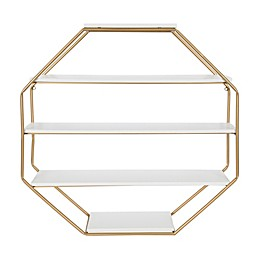 Kate And Laurel® Lintz Floating Decorative Octagon Shelving in White/Gold