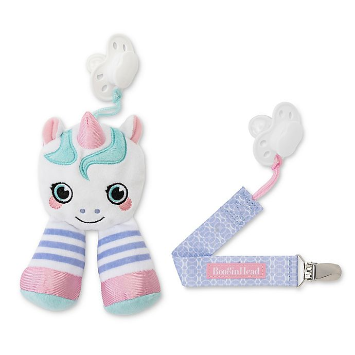 Alternate image 1 for Booginhead® Plush PaciPal Unicorn with PaciGrip Pacifier Clip in Pink