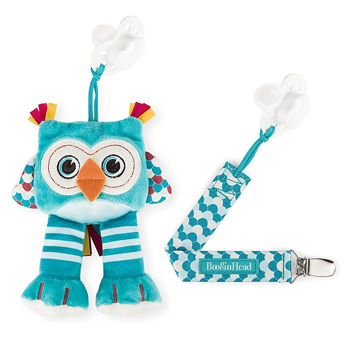 Alternate image 1 for Booginhead® Plush PaciPal Owl with PaciGrip Pacifier Clip in Teal
