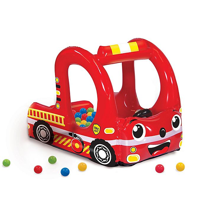 Alternate image 1 for Banzai Rescue Fire Truck Inflatable Ball Pit with Soft-Touch Balls