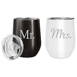 Oggi™ Cheers™ Mr and Mrs Stainless Steel Wine Tumblers in Black/White (Set of 2)