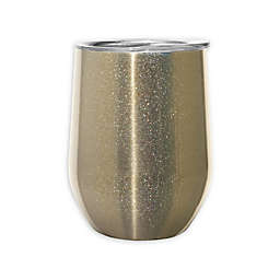 Oggi™ Cheers™ Stainless Steel Wine Tumbler in Gold Sparkle