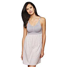 Motherhood® Maternity Small Stripe Nursing Nightgown in Pink/Grey