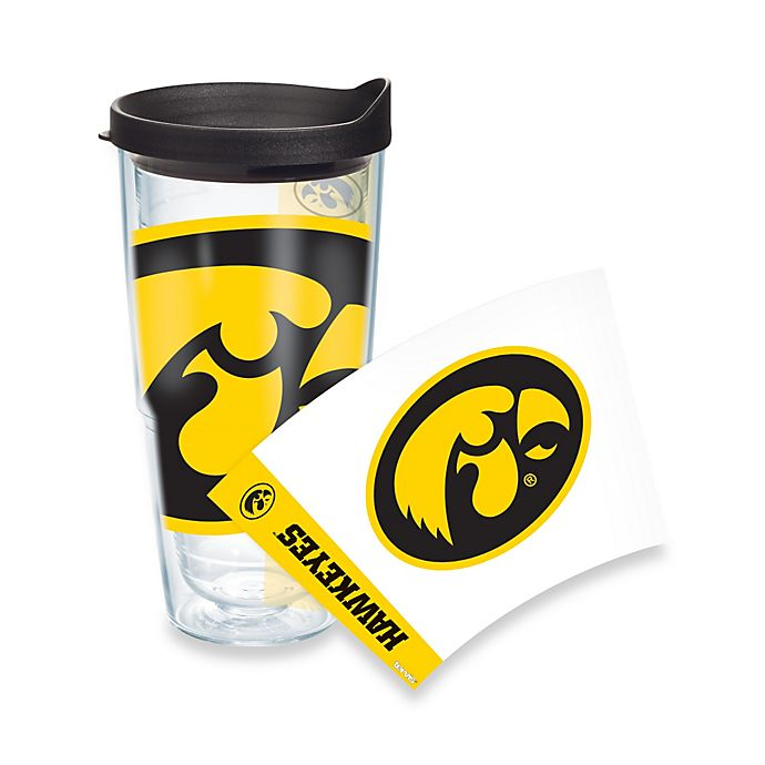 Alternate image 1 for Tervis® University of Iowa Hawkeyes 24 oz. Wrap Tumbler with Black Lid