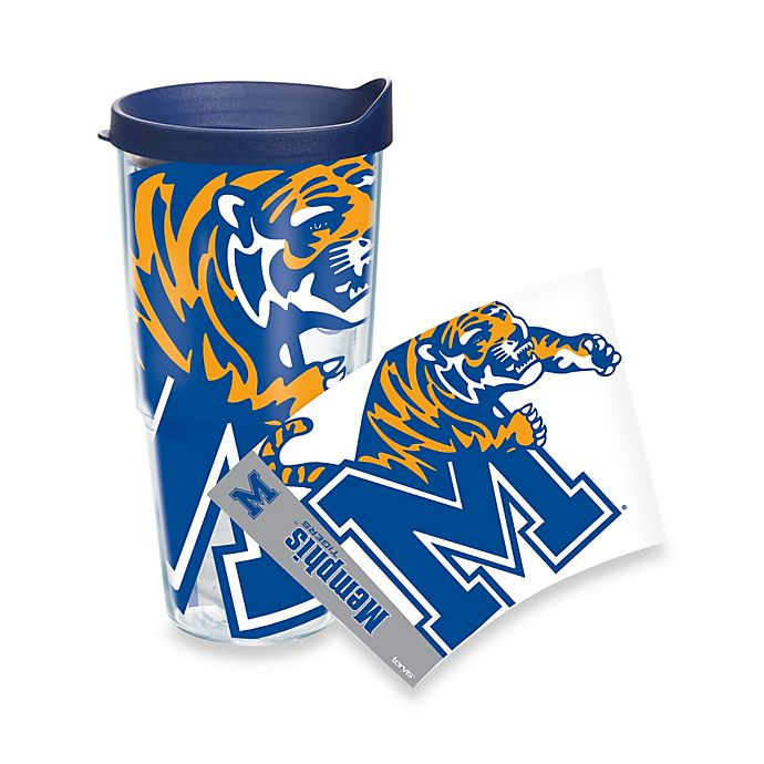 Alternate image 1 for Tervis® University of Memphis Grizzlies 24-Ounce Wrap Tumbler with Blue Lid