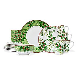 222 Fifth Christmas Foliage 16-Piece Dinnerware Set