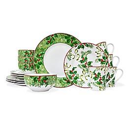 222 Fifth Christmas Foliage 16-Piece Dinnerware Set
