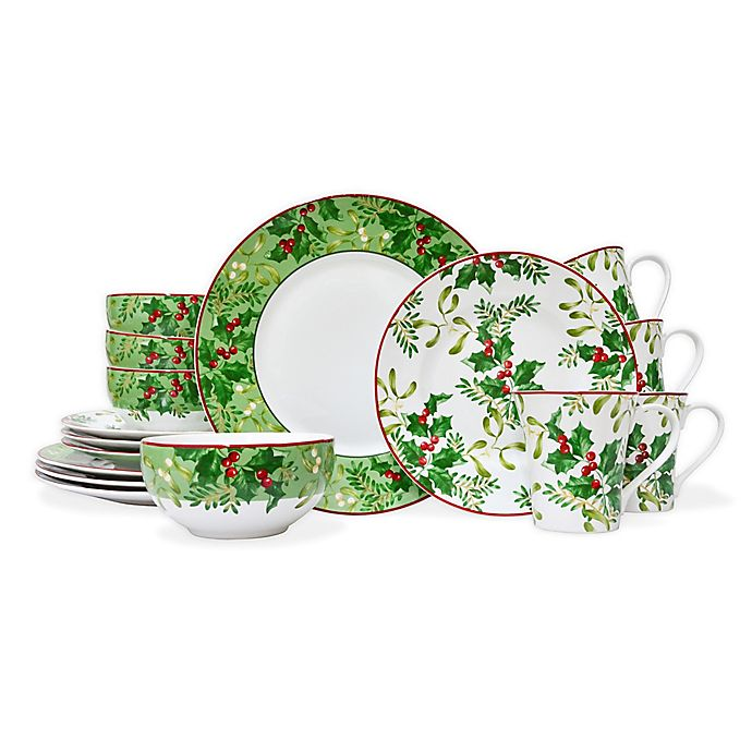 222 Fifth Christmas Foliage 16 Piece Dinnerware Set Bed Bath