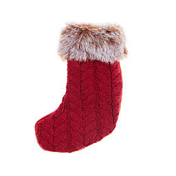 Cable Knit Christmas Stocking Utensil Holder in Red