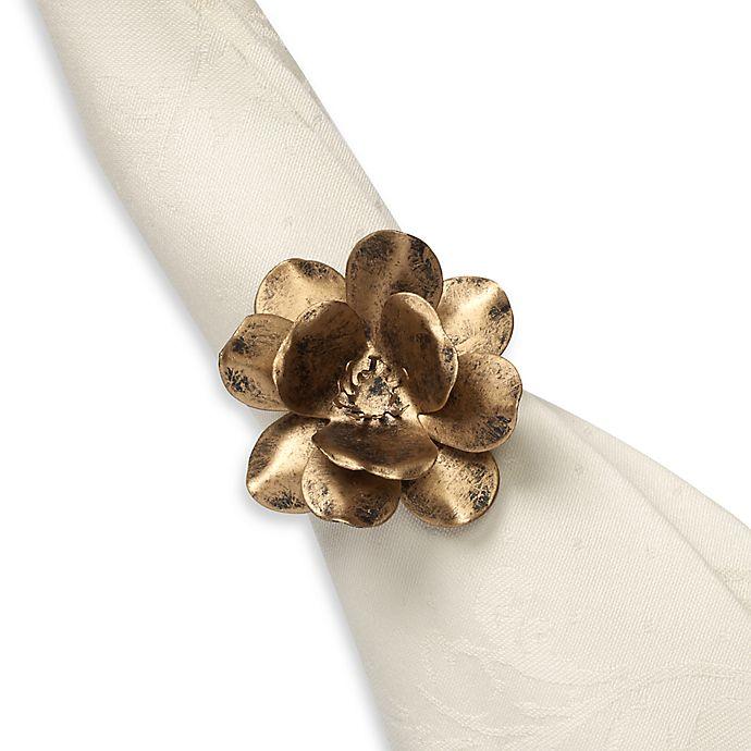 Alternate image 1 for Metal Flower Napkin Rings in Gold (Set of 4)