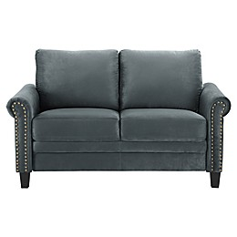 Lifestyle Solutions® Faux Leather Upholstered Gateway Loveseat Chair in Charcoal