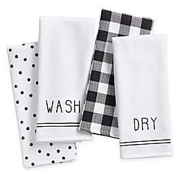 Farmhouse Living 4-Piece Sentiments Kitchen Towel Set in Black/White