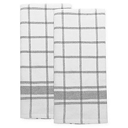 Emeril™ Plaid Kitchen Towels in White/Black (Set of 2)