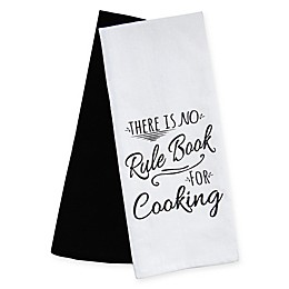 Emeril™ No Rule Book Kitchen Towels in White/Black (Set of 2)