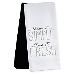 Emeril™ Keep it Simple Kitchen Towels in White/Black (Set of 2)
