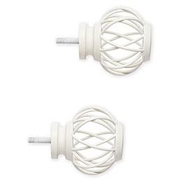 Cambria® Premier Wire Birdcage Finials in Satin White (Set of 2)