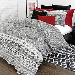 Alamode Home Medina Reversible Duvet Cover Set in White/Black