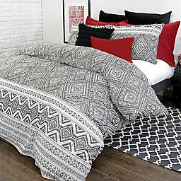 Alamode Home Medina Reversible Twin Duvet Cover Set in White/Black