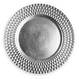 ChargeIt by Jay Linear Melamine Charger Plates in Silver (Set of 4)