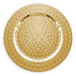ChargeIt by Jay Snake Melamine Charger Plates in Gold (Set of 4)