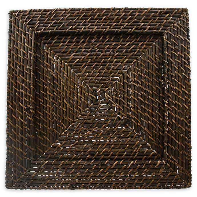 Alternate image 1 for ChargeIt by Jay Rattan Square Charger Plates in Brown (Set of 4)