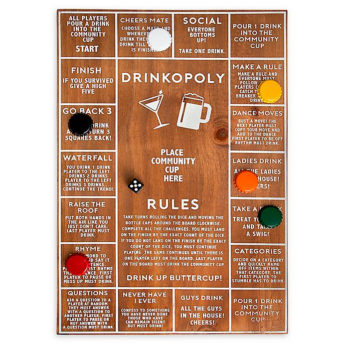 Alternate image 1 for Polished Wood Drinkopoly Game