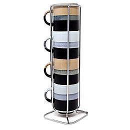 Boston Warehouse 5-Piece Espresso Mug and Stand Set