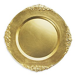 American Atelier Leaf Melamine Charger Plates in Gold (Set of 4)