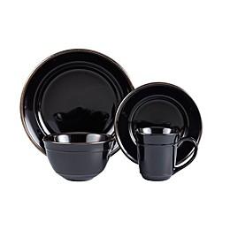 American Atelier Lucienne 16-Piece Dinnerware Set in Black