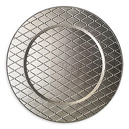 ChargeIt by Jay Plaid Melamine Charger Plates in Silver (Set of 4)