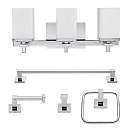Globe Electric Finn 5-Piece All-In-One Bath Ensemble in Chrome with 3-Light Vanity Light