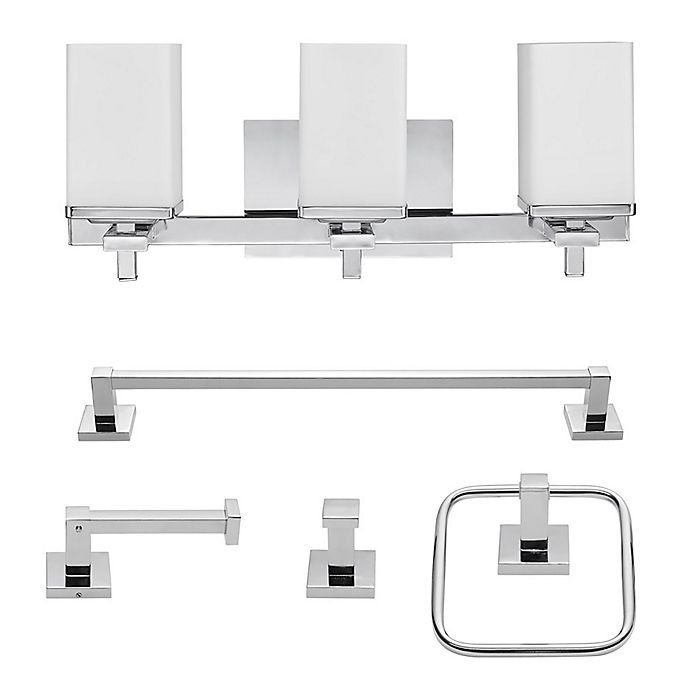 Alternate image 1 for Globe Electric Finn 5-Piece All-In-One Bath Ensemble in Chrome with 3-Light Vanity Light