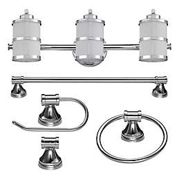 Globe Electric Kennewick 5-Piece All-In-One Bath Ensemble in Chrome with 3-Light Vanity Light