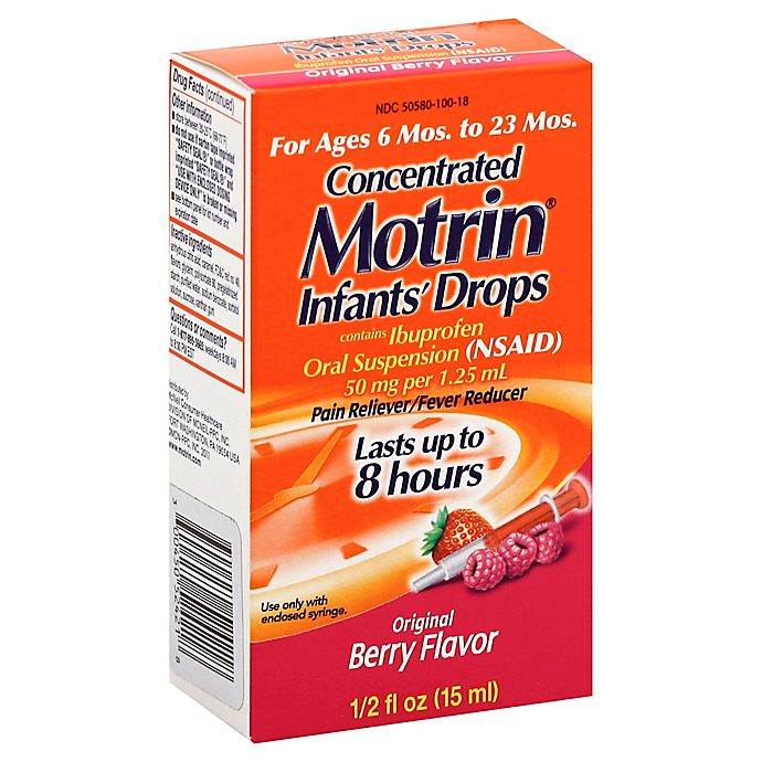 Alternate image 1 for Motrin® Infant's 0.5 fl. oz. Concentrated Pain Reliever/Fever Reducer Drops in Berry
