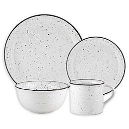 American Atelier Speckled 16-Piece Dinnerware Set in Black / White