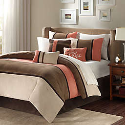 Madison Park Palisades 7-Piece King Reversible Comforter Set in Coral/Natural