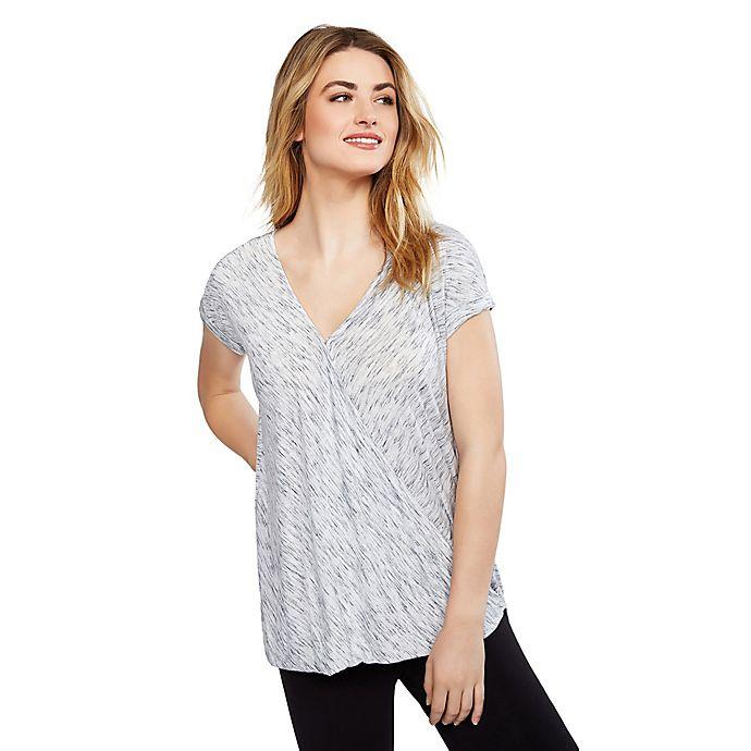 Alternate image 1 for Motherhood Maternity® One-Button Maternity Nursing Short Sleeve Shirt